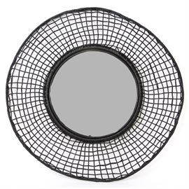 Woven Frame Mirror: A woven frame mirror. Featured is a round mirror that is presented in a black hand woven open frame.