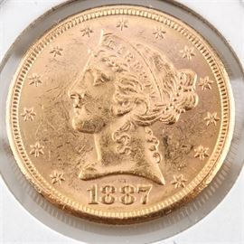 1887-S $5 Liberty Head Gold Coin: An 1887-S $5 Gold coin. Designer: Christian Gobrecht. Mintage: 1,912,000. Metal content: 90% gold, 10% copper. Diameter: 21.6 mm. Weight: approximately 8.35 grams. The coin is in very good condition.