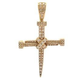 14K Yellow Gold 1.50 CTW Diamond Nail Cross Pendant: A 14K yellow gold pendant featuring three nail-shapes arranged to give shape of a cross while adorned with diamonds.