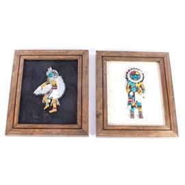 "Pair of Framed Native American-Inspired Painted Plaques: A pair of framed Native American-inspired painted plaques. The pair feature molded and hand-painted plaques in the form of Native American Hopi, Zuni and other pueblo spirit or ""kachina"" figures. One is titled Kwahu – Eagle Katchina, and one is titled Tawa – Sun Katchina. Both are presented against painted plywood backing board with frames. The frame backs have papers describing the history of the kachina depicted, and are signed by artist Charlene Morgan, and dated 1989."