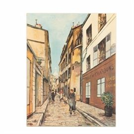 Offset Lithograph on Canvas After Maurice Utrillo of a Parisian Street: An offset lithograph on canvas after a painting of a Parisian street by artist, Maurice Utrillo. This print, titled Rue Saint-Rustique a Montmartre, depicts people walking through an alley lined with storefronts. It is signed and dated in-plate to the lower left corner. This print is presented unframed and without hanging hardware.