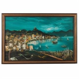"Oil Painting of a City by the Sea: An oil painting on canvas of a city by the sea. This unsigned painting with impasto details depicts a harbor filled with docked boats and lined with tall buildings and houses. The painting is presented in a gold tone and brown wood frame. A wire for hanging purposes and a graphite marking reading ""ERP"" are present to the verso."