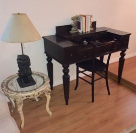 Foo dog lamp, glass top table, spinet piano desk