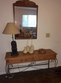 Entry console, foo dog lamp (one of a pair), mirror