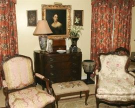 NICK MAHOGANY CHEST, FRENCH CHAIRS, SEVERAL ANTIQUE TEA CADDIES, NICE OIL PORTRAIT
