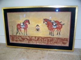 Chinese Framed Horse Scroll Painting