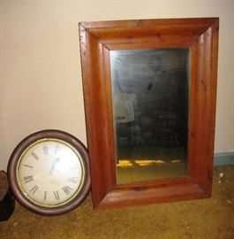 old mirror and clock