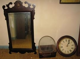 old framed mirror and clock