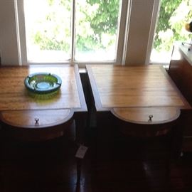 Pair of Thomilson Mid-Century Endtables with copper inserts dated 1953. Rare