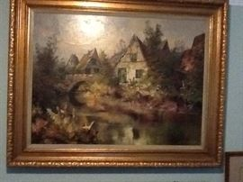 """Huge 39"""" by 49"""" inches Oil painting by H.F. Dienst in solid wood carved gilted frame."""