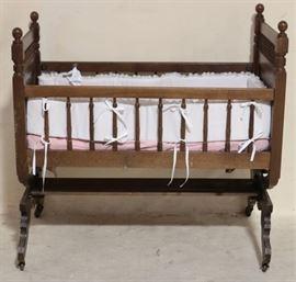 Victorian walnut platform cradle