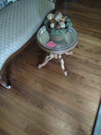 Silver tray top accent table