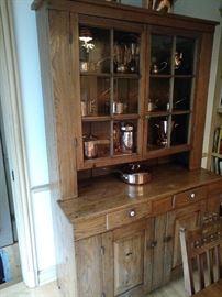 Remarkable primitive walnut step back cupboard. Original glass!