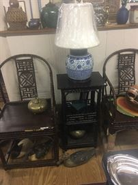 Pair of 19th century armchairs and matching table, working decoys, fine porcelain vase lamp, green Thai vase lamp, handwoven basket.