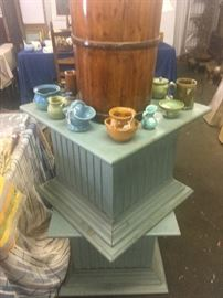 N.C. pottery and pair of display/coffee table sized platforms.