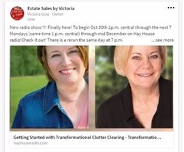 Here's the link to the show.  Hope you can hear it often.  All the best!  Victoria       Just hi-light and open in a new window.                                                                                                                         https://www.hayhouseradio.com/#!/episode/getting-started-with-transformational-clutter-clearing