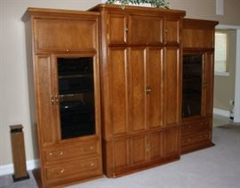 Oak entertainment center by Hooker, 3 sections