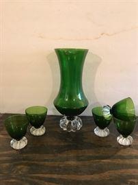 Vintage Glass Serving Set, Green glass clear stem