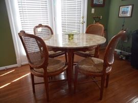 Marble Top Table, Cane & Rush Chairs