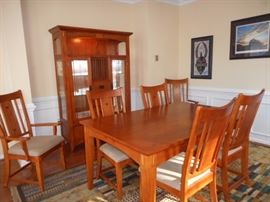 Mission Style Dining  Set with 6 Side Chairs & 2 Arm Chairs