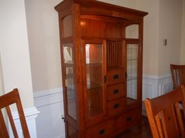 Mission Style Lighted China Cabinet