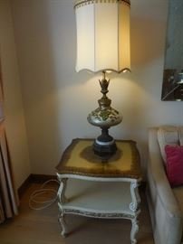 Italian Provincial  Smoky Mirror Top Occasional Table. Vintage Glass Table Lamp, Silk Shade
