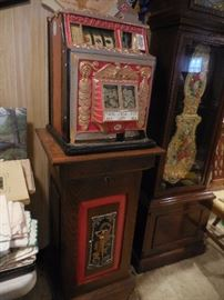 1930's Waitling Treasury Nickel Slot Machine with Stand and Key locks stand. It works..Its pretty darn cool.so..are you IN IT TO WIN IT? HAS A BID..wont be half.