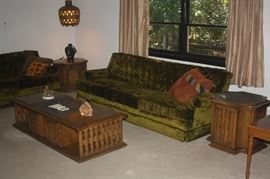 TWO GREEN VELVET SOFAS