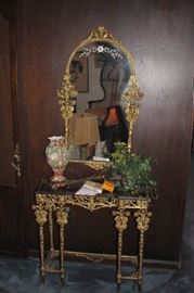Metal & Marble Foyer Table with Matching Mirror and Decorative