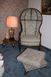Vintage Chair and Ottoman with Small Metal Table and Lamp with Decorative