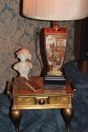 Metal Table with Lamp and Bust