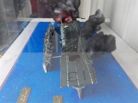 Battle ship and aircraft carrier Diorama (BIG). In a big display case