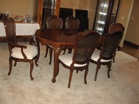 Formal Dining Room Table with Six Chairs, Pads, 2 Leaves By  Century Furniture Company
