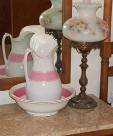 Pitcher and bowl, hand painted lamp shade, there also are more pink and white porcelain pieces