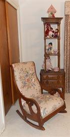 Lovely vintage upholstered rocker, shelf, small bedside table, Collectible porcelain dolls