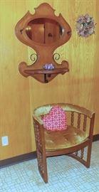 Barrel back chair, Mirrored shelf