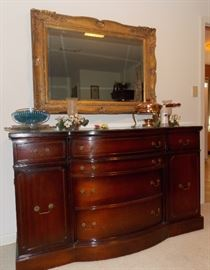 Mahogany buffet, Large Mirror, copper chafing dish