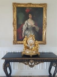 Framed Oil Painting, Francois Linke Clock with matching Candelabras, and Console Table