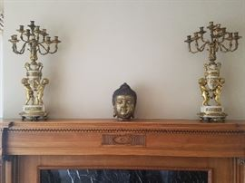 Matching Bronze and Marble Candelabras