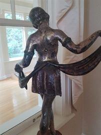 Art Deco Bronze Sculpture with Scarf 6x15x27