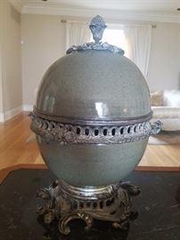 Celadon Porcelain Covered Jar with Dark Celadon Crackle w Silver Plated Brass Mounts