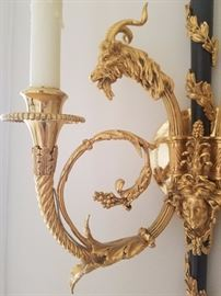 Pair of custom Black and Gold Sconces12W6.5D23H
