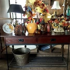 Console table and fall decor