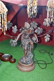 ART NOUVEAU FIGURAL BRONZE/SPELTER  NEWELL LAMP