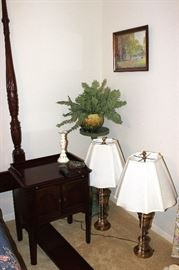 Side table, lamps, plant stand, artwork