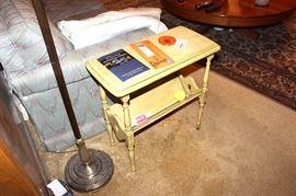 Vintage magazine table, floor lamp, sleeper sofa