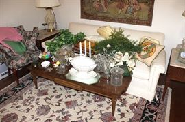 coffee table, sofa, chair, side table, lamps, glassware