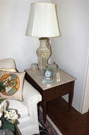 Vintage side table, lamp, clock