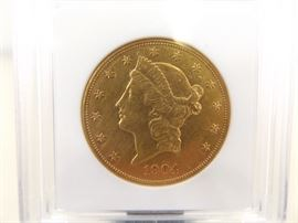UNCIRCULATED 1904-S Gold $20 Double Eagle