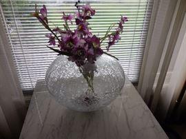 Crackle Glass Hand Blown Large Vase